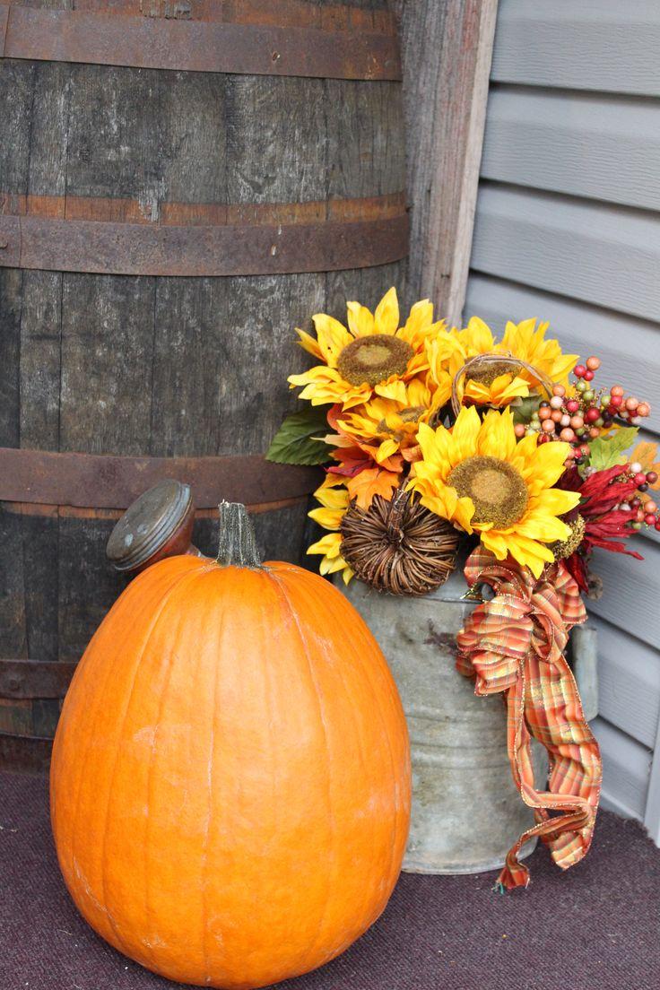 Primitive decor. Halloween. Fall watering can, barrel ...