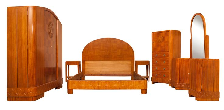 Art Deco British Bedroom Suite in Carved Satin Maple 1930s