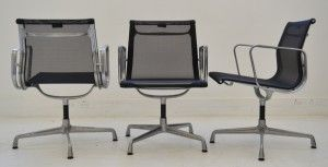 Interiors - Provenance Auction House: A Set of Eight Charles and Ray Eames Aluminium Chairs.