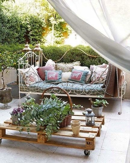 I would have never thought of it! A day bed for patio furniture! Make sure you cover it at night because it will prolong the life of your cushions and pillows.