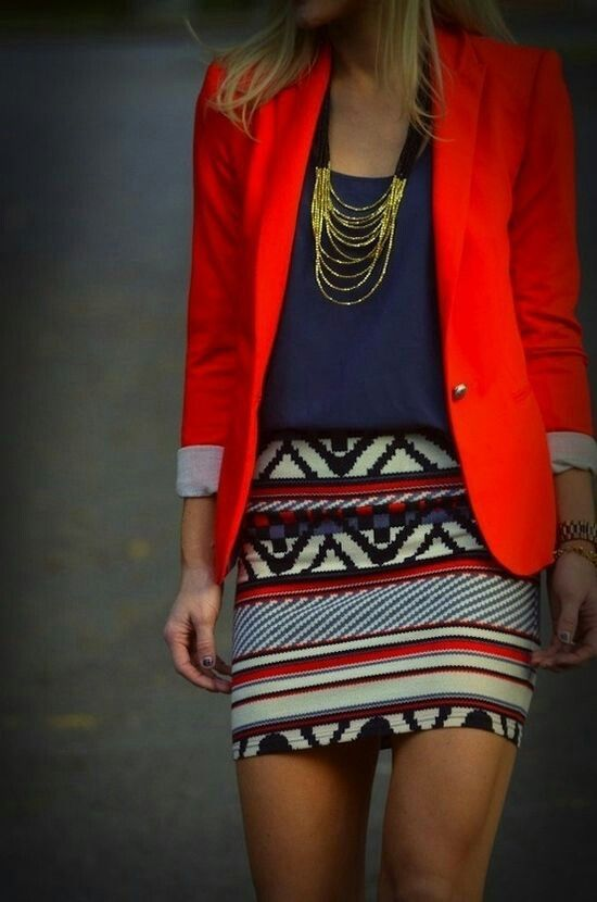 Color blazer... Longer skirt needed for work