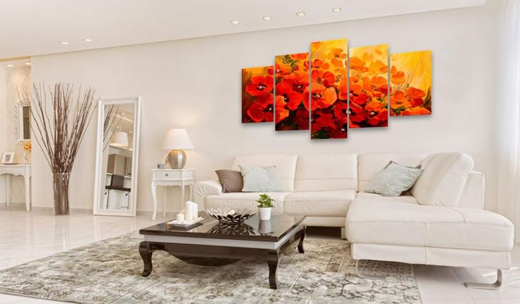 Obraz wieloczęściowy z makami, wydruk na płótnie. Intensywnie czerwone, malowane kwiaty pięknie wyglądać będą jako dekoracja do salonu w stylu skandynawskim