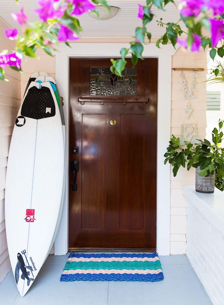 Bougainvillea and boards—quintessential Venice Beach.