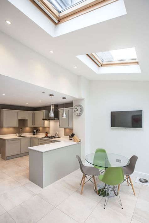 Single-storey kitchen extension from L&E (Lofts and Extensions) in Teddington - don't move extend. Victorian Extension, Terraced Property Extension, Kitchen Extension, Kitchen Design Ideas, Bi-Fold Doors, Grey Kitchen, Pendant Lighting, Kitchen-Diner, Skylights