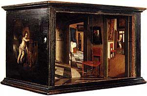 Boîte d'optique avec des vues intérieures d'une maison néerlandaise, par Samuel van Hoogstraten