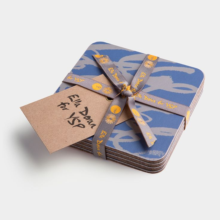 Set of four coasters from renowned designer Ella Doran's 'Brushmarks' range, created in response to the beautiful Bretton Estate, home to YSP. Made with sustainably sourced eucalptus board.