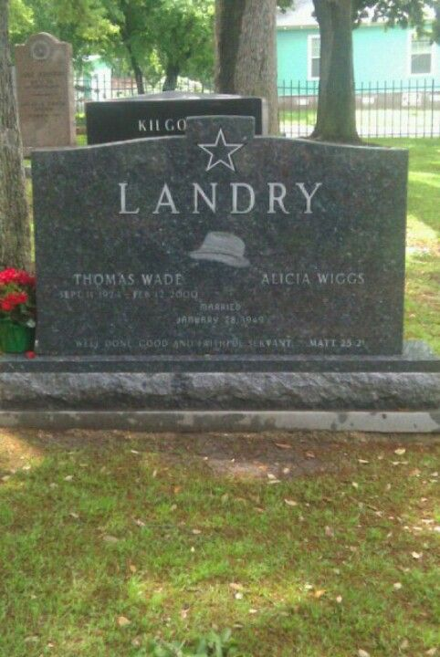"""Thomas Wade """"Tom"""" Landry (September 11, 1924-February 12, 2000) Sparkman-Hillcrest Cemetery, Dallas, Texas. Landry, an American football player and coach, ranked as one of the greatest and most innovative coaches in National Football League history, creating many new formations and methods. Head Coach of the Dallas Cowboys (1960–1988)"""