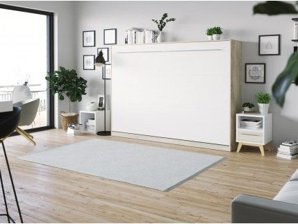 Smartbett Schrankbett Standard 140x200 Horizontal Anthrazit Weiss