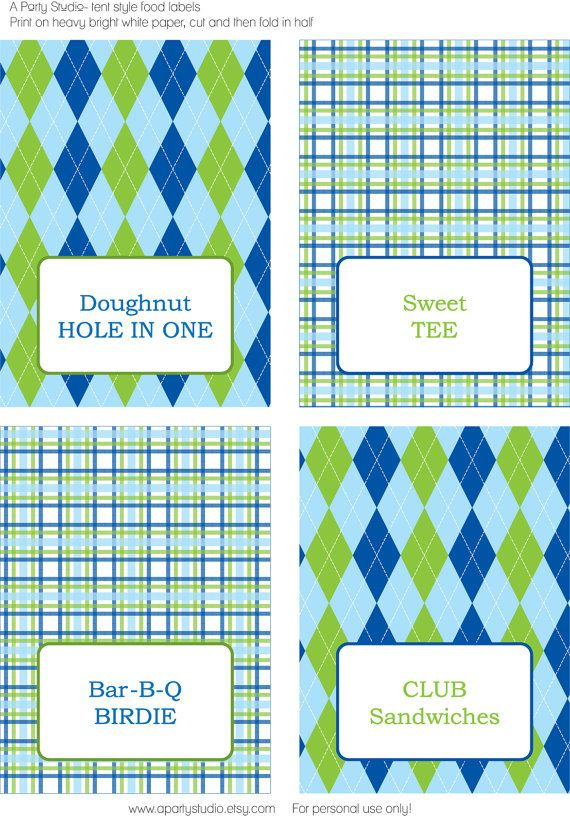Golf Party- Food Labels- Print your own on Etsy, $7.00