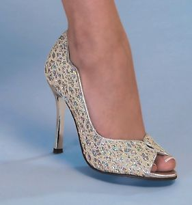 wedding shoes for women ivory | Womens Bridal Ivory Iridescent Glitter Stiletto High Heels Shoes Pumps ...
