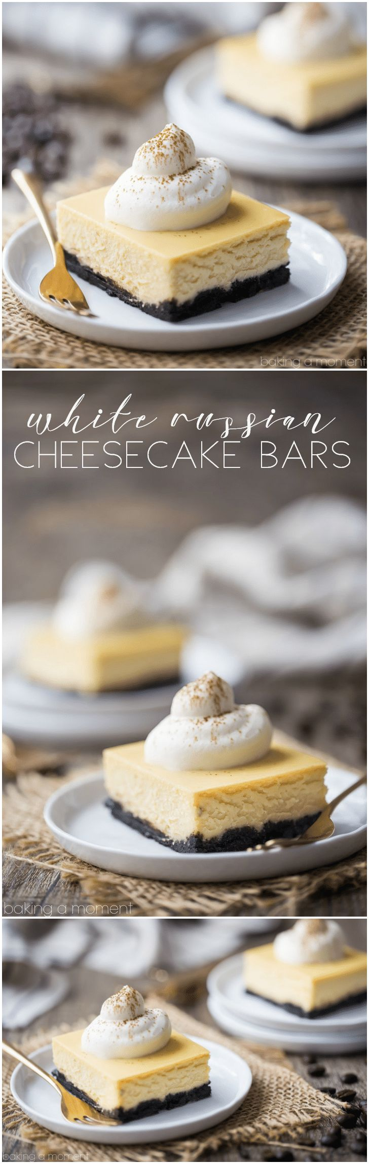 White Russian Cheesecake Bars: these tasted just like the cocktail! Cold & creamy, with a hint of rich coffee and a boozy kick. food desserts cheesecake via @bakingamoment