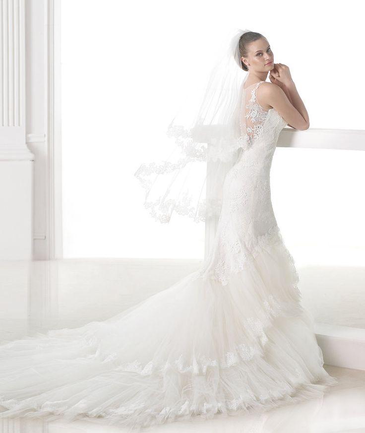 Best PRONOVIAS BARCELONA COLLECTION FASHION Style MARSALA Lace Mermaid Wedding DressMermaid