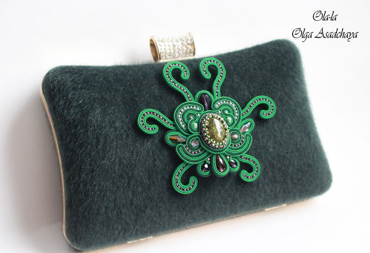 "Decor clutch ""Flower Tacca"" soutache, natural jade, crystal beads, Japanese beads"