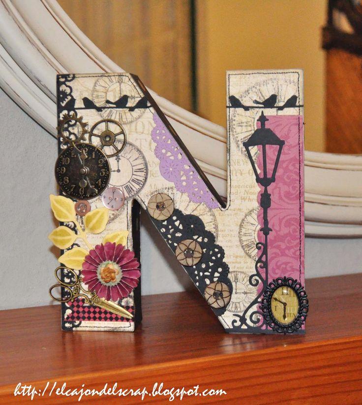 El cajón del scrap: Letras decoradas con scrapbooking: N y C
