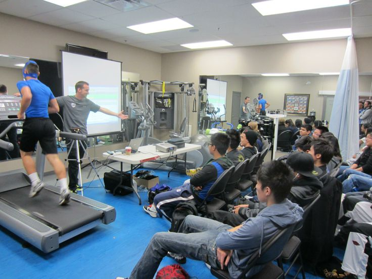 Brad Corcoron - A4A Certified Strength & #Conditioning Specialist and #PersonalTrainer doing a #VO2 Max test for a High School class at A4A — at Advantage 4 Athletes, A4A.
