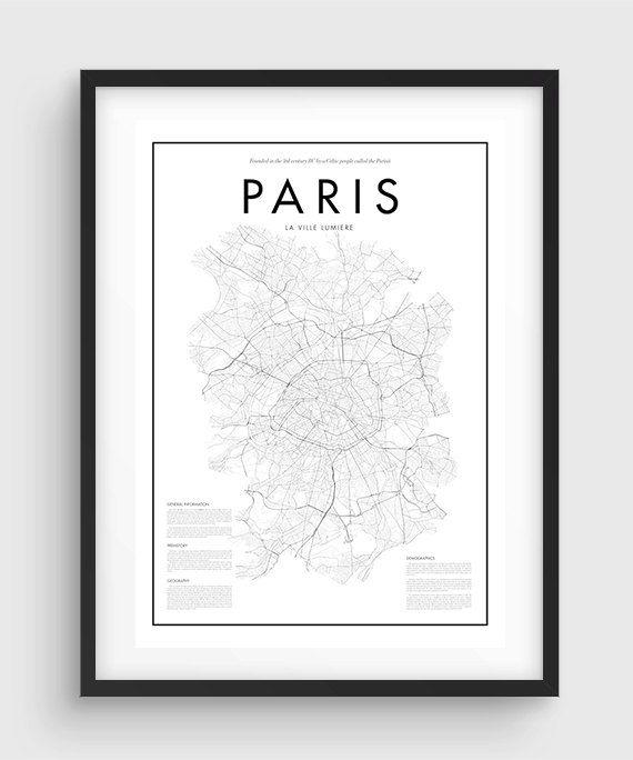 Minimale Parijs kaart Poster, zwart / wit Minimal Print Poster, kunst, Home Art, minimale Graphics, Parijs Poster, kaart Decor van het huis