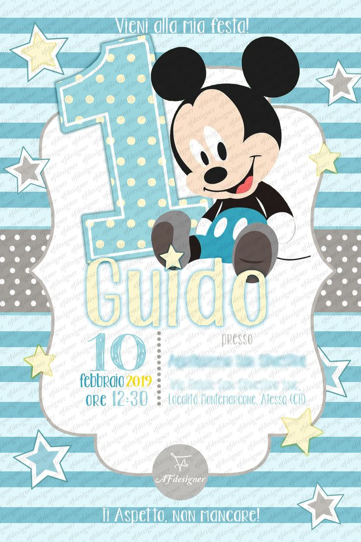 digital invitation birthday party baby mickey mouse. Black Bedroom Furniture Sets. Home Design Ideas