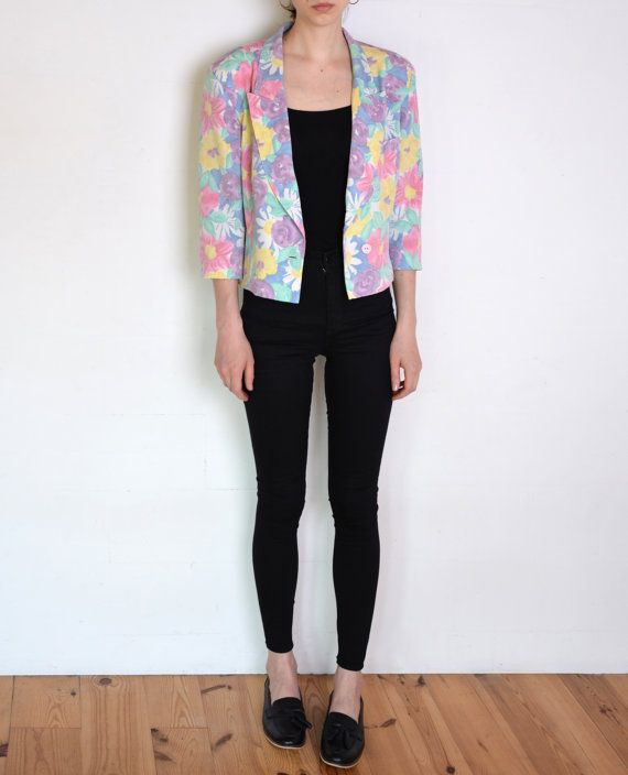 90's pastel flowers blazer retro kitsch grunge by WoodhouseStudios