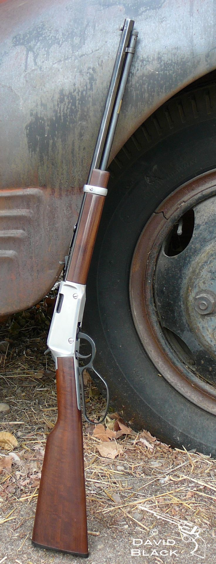 Henry Lever Action Rifle 22. Large loop lever and octagonal barrel. Love this gun. Old Dodge truck