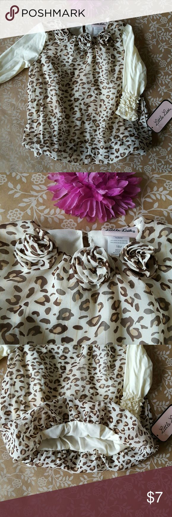 NWT! CHEETAH Print 18M Blouse Sheer, flowy cheetah print layer with built in under layer. Rosettes around neckline. Poufs around waist. Very elegant! See pics for details of fit! Little Lass Shirts & Tops Blouses