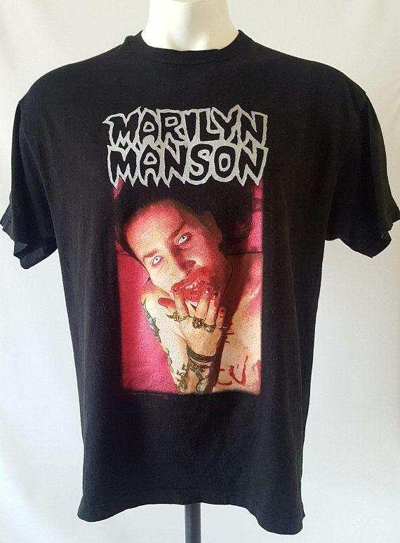 600e16b0b0d72 Marilyn Manson Band T-shirt - 90s Heavy Metal Band Tee, I Am The God ...