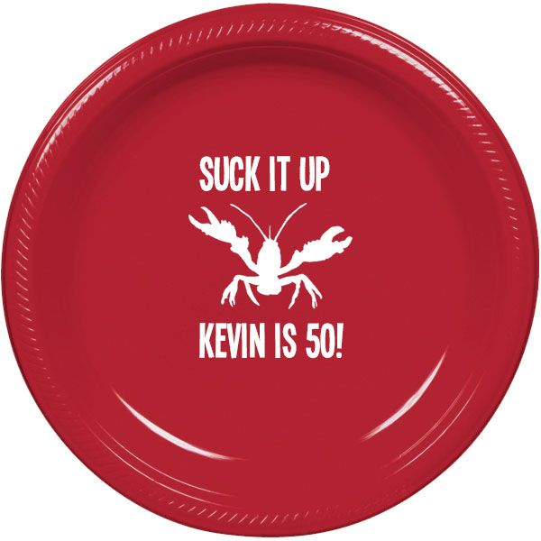 Custom red plates for Crawfish Boil Birthday party