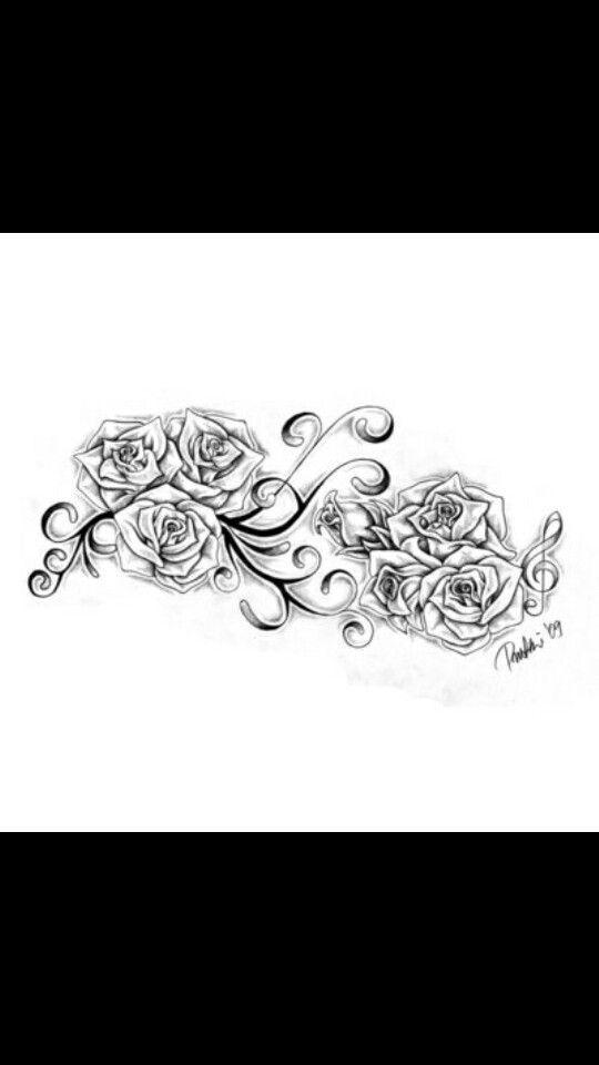 Grote roos tatoeage