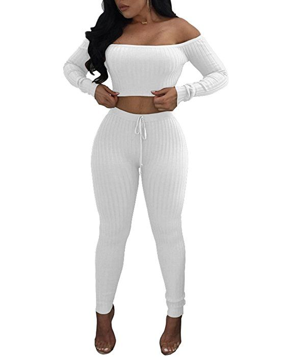 080143039108 Amazon.com: Dreamparis Women's Causal 2 Piece Outfits Ribbed Off Shoulder  Crop Top + Skinny Pants Sets Clubwear Small White: Clothing