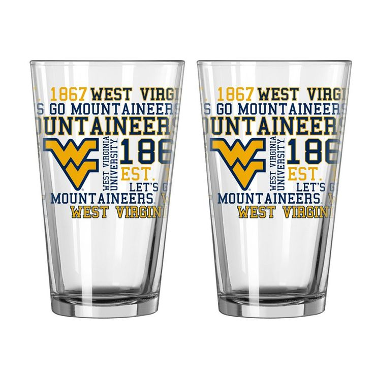 Boelter West Virginia Mountaineers Spirit Pint Glass Set, Multicolor