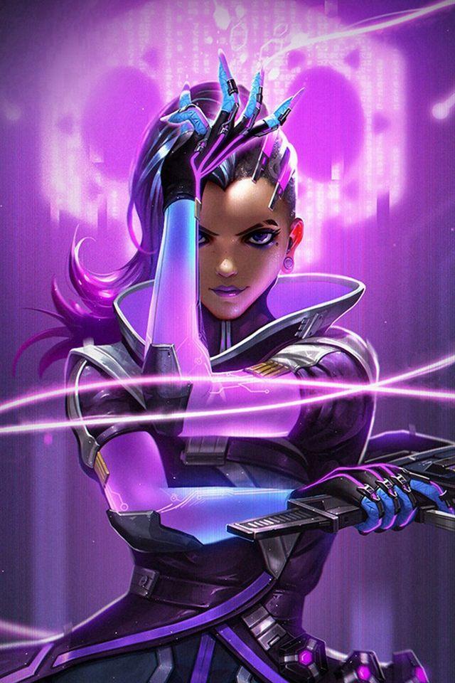 Overwatch Sombra Purple Game Hero Illustration Art #iPhone #4s #wallpaper