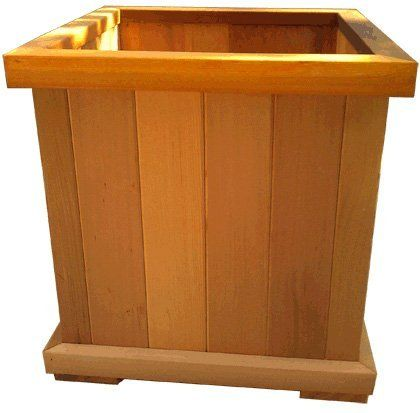 """Cedar Garden Planter Box 18x18x18 . $69.00. Mitered corners on the top and bottom rails. 100% western red cedar. Measures 18""""W x 18""""L x 18""""H. Planter box walls made with 3/4"""" tongue and groove cedar. Supports allow the bottom to drain properly. Holds 2 cubic feet of soil. Enhance your garden space in a day with the color of Western Red Cedar. Square cedar garden planter box comes ready-to-plant - No assembly required."""