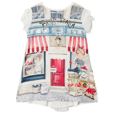 Off White Bella Italia and Girl Print Dress