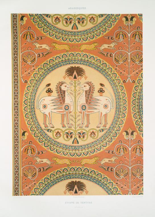 Arabesques : étoffe de tenture (XIIe. siècle)