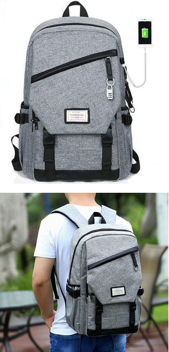 b5e5572703 Leisure Waterproof Canvas School Bag Travel USB Interface Gray Large  Student Backpack  backpack  Bag  school