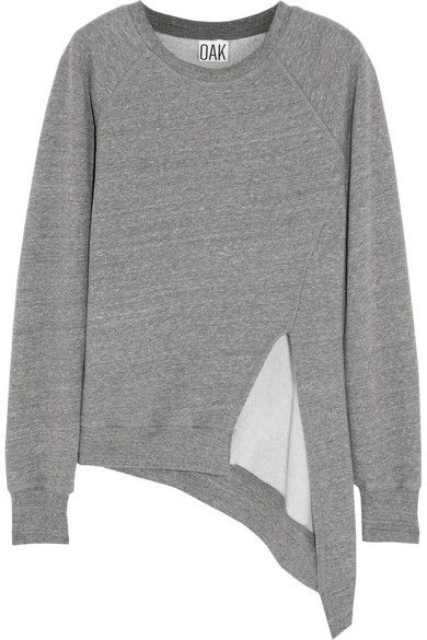 Split-front jersey sweatshirt
