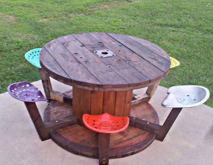 Very cool cable spool table with tractor seat stools!