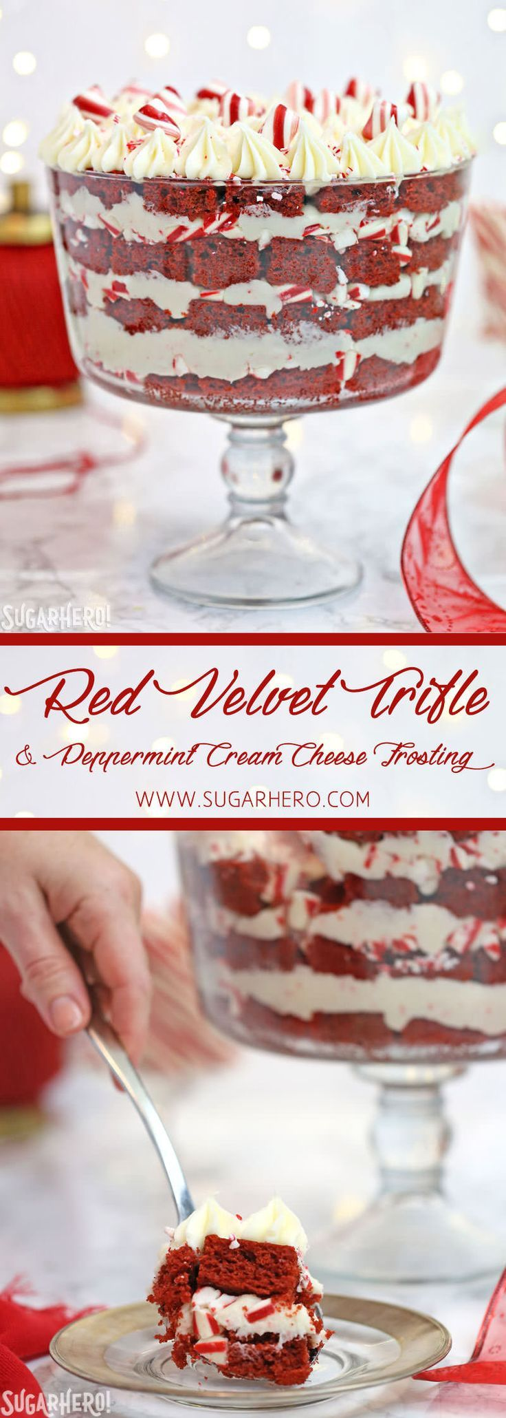 Red Velvet Trifle with Peppermint Cream Cheese Frosting - great for the Christmas holidays! | From SugarHero.com