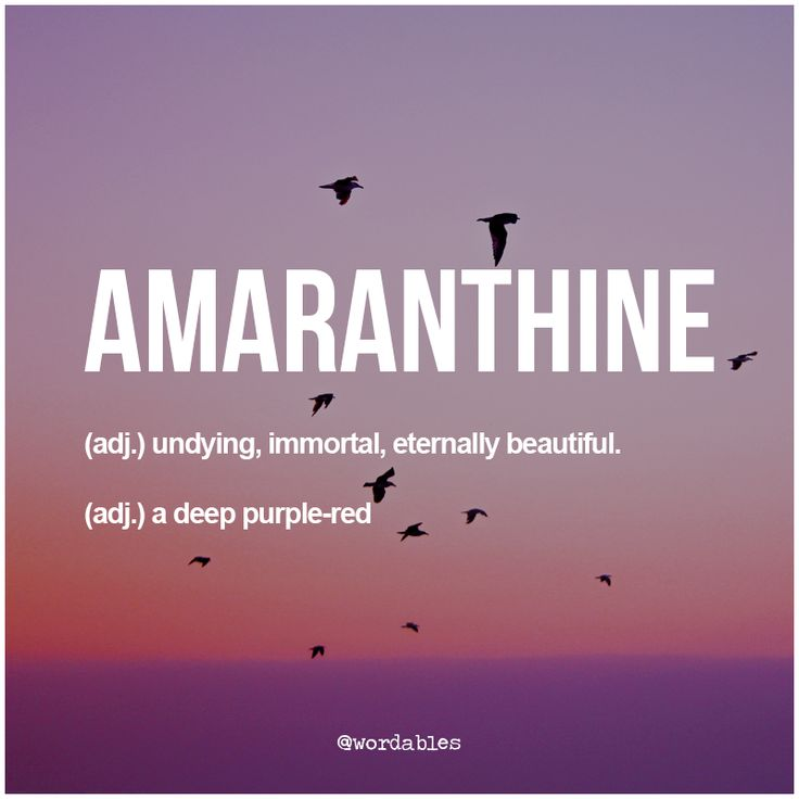 The color amaranthine came from the Greek word 'amarantos' which meant unfading. The word Amaranth was used to name an imaginary, undying flower that was, presumably, a deep red-purple color and there you have the two uses of the word today. Lovely stuff.