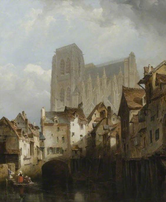lewis john wood(attributed to)(1813–1901), church of st wulfram, abbeville, france, c.1840. oil on canvas, 75 x 62 cm. northampton museums & art gallery, uk http://www.bbc.co.uk/arts/yourpaintings/paintings/church-of-st-wulfram-abbeville-france-50092