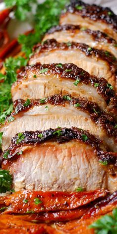 Brown Sugar Dijon Glazed Pork Loin with Carrots, Apples and Sweet Potatoes. Holidays, Thanksgiving, Christmas dinner recipe.