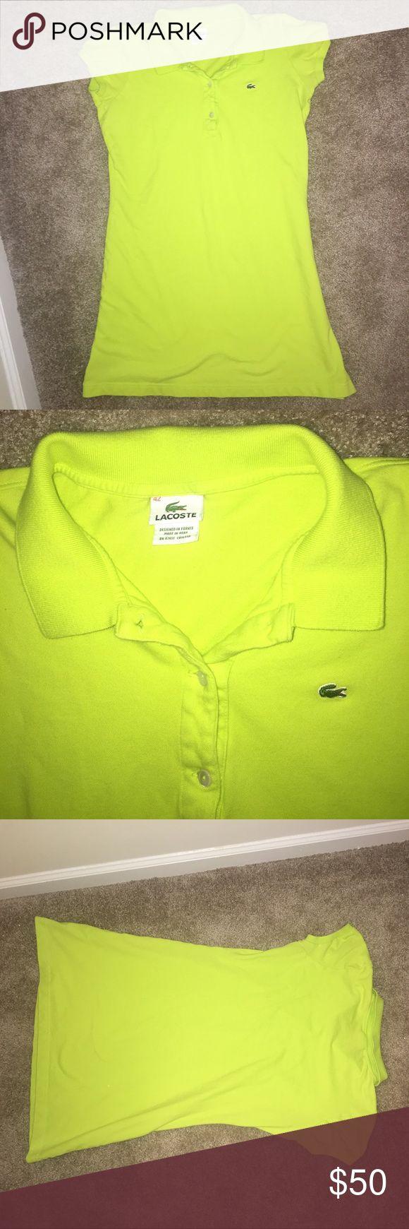 EUC Lacoste Neon Green Polo Dress 42 / Large Excellent condition Lacoste bright green polo dress. Size 42 (large). Super fun color! Runs small. Lacoste Dresses