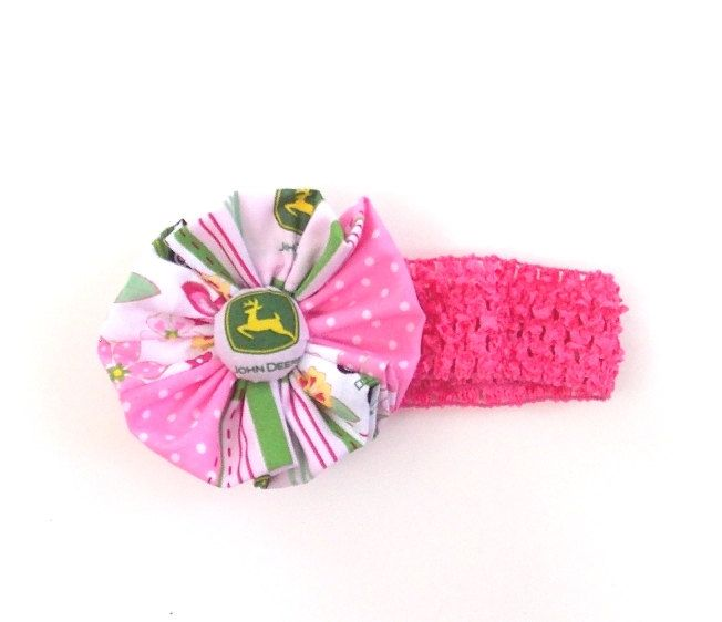 Girls Pink John Deere Headband Pink stretch by SouthernSister2, $6.00