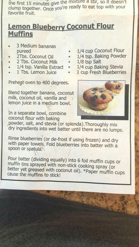 Lemon Blueberry Coconut Flour Muffins