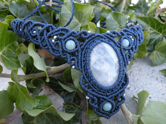 Rainbow Moonstone Macrame Choker Amazonite Beaded Boho Tribal Necklace This boho choker is created using the macramé technique. It is made by a high quality dark blue waxed thread and amazing Moonstone cabochon. Also, we use a Amazonite and silver glass seed beads to complete