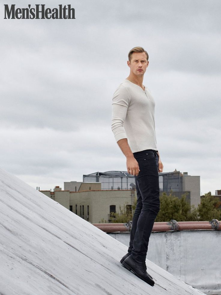 Alexander Skarsgård is August cover star for Men's Health UK. Skarsgård  goes casual in a pocket tee and black denim jeans for the cover, which was s