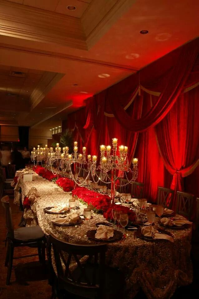 Elegant Red Wedding Reception
