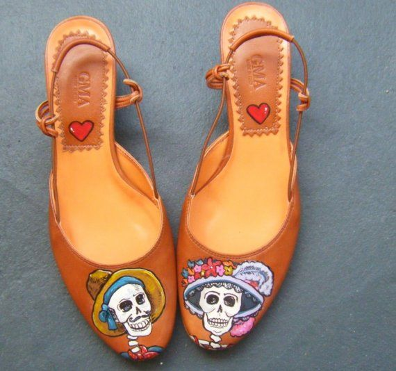 Mexican day of the dead slingbacks