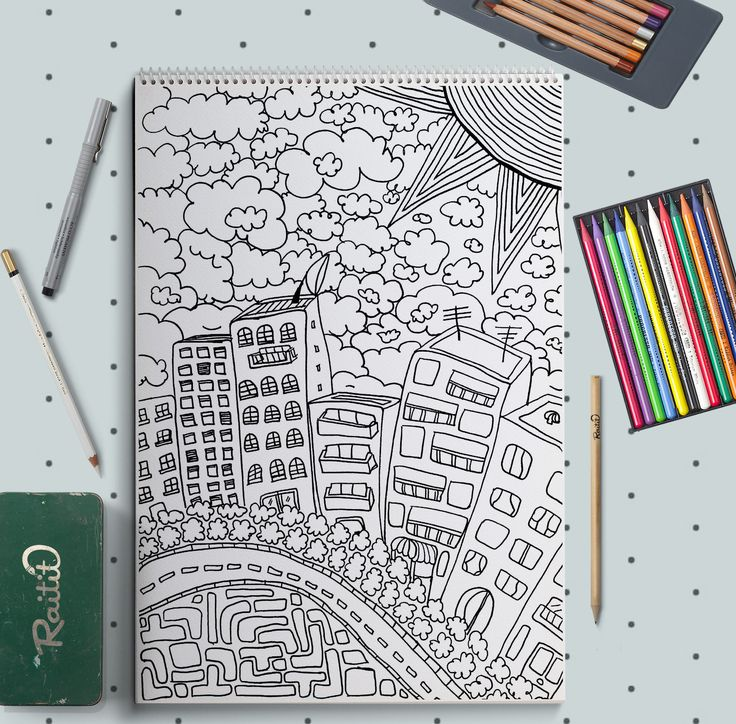 City Coloring doodle - Ciudad Dibujo para colorear de Raitit en Etsy