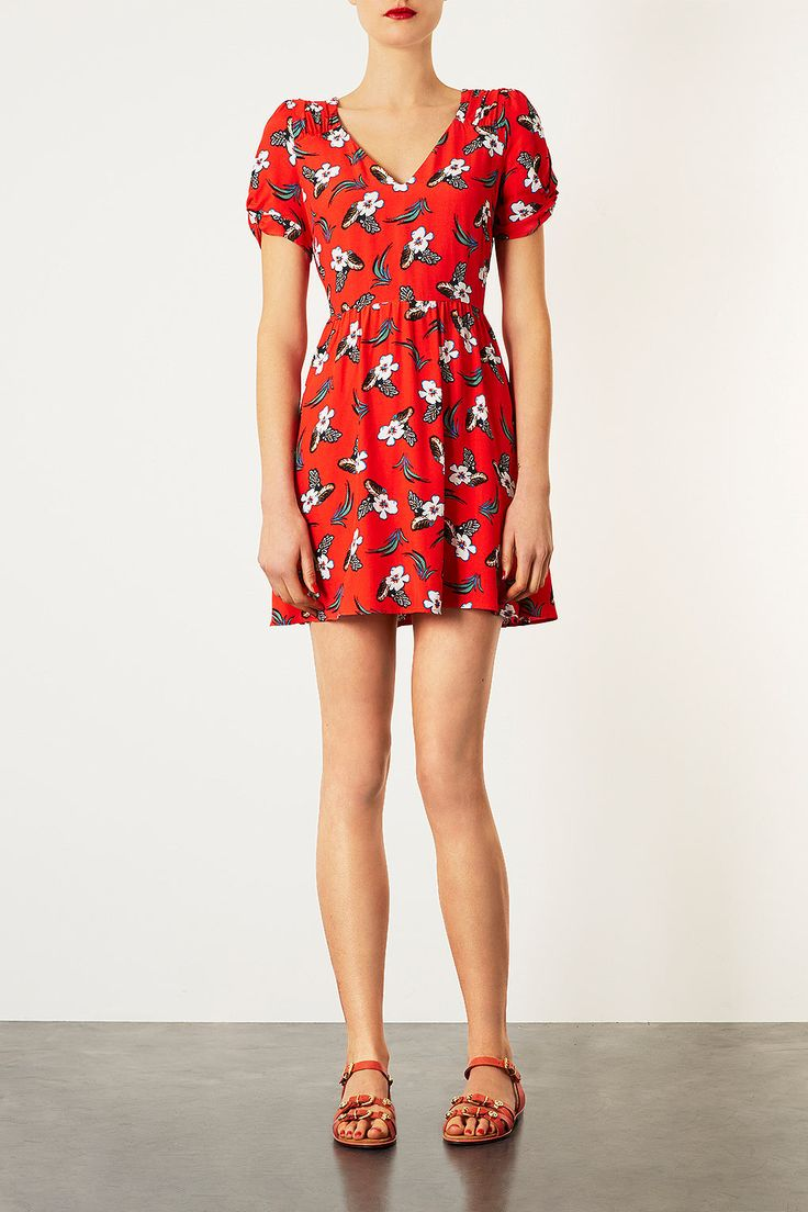 Topshop red floral dress