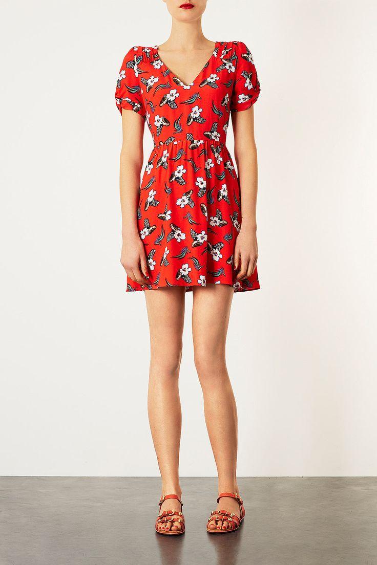 Topshop red floral dress